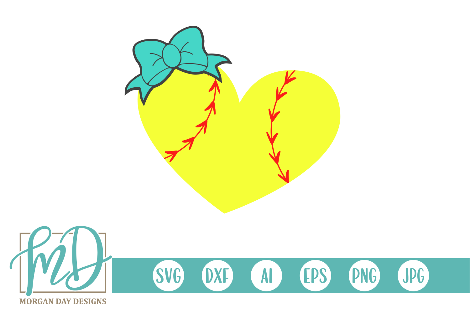 Softball Heart with Bow SVG, DXF, AI, EPS, PNG, JPEG example image 1