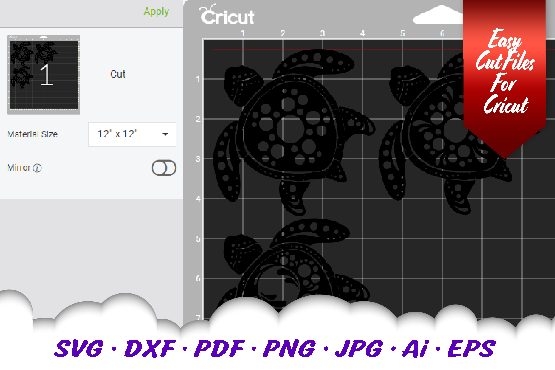 BIG Mandala Sea Turtle SVG DXF Cut Files Bundle example image 4