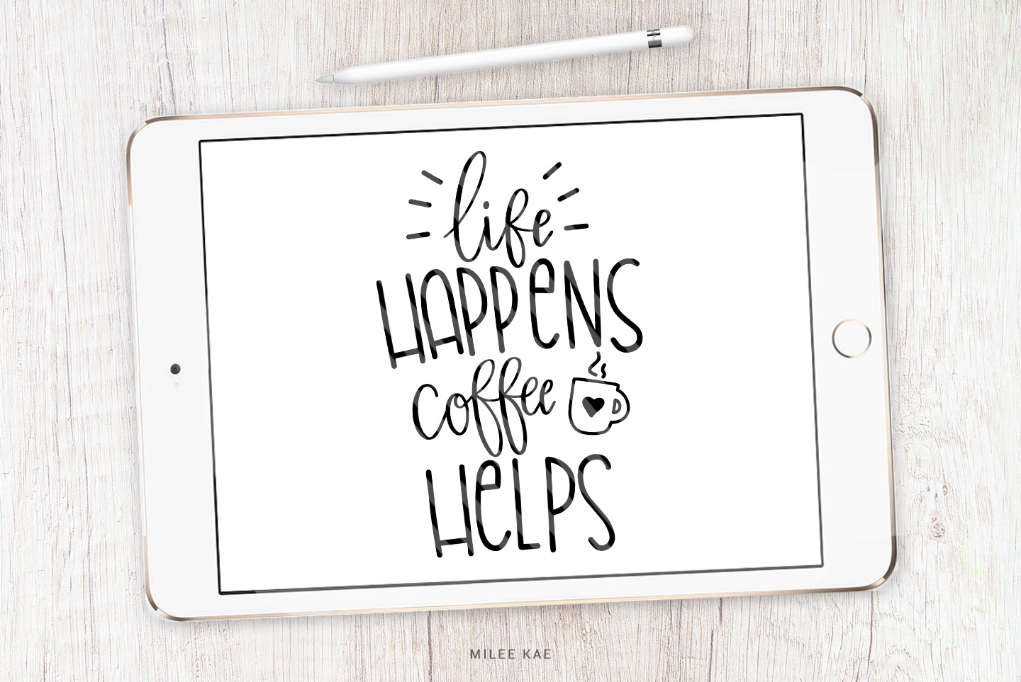 Coffee Quote SVG, Cutting file, Decal example image 1