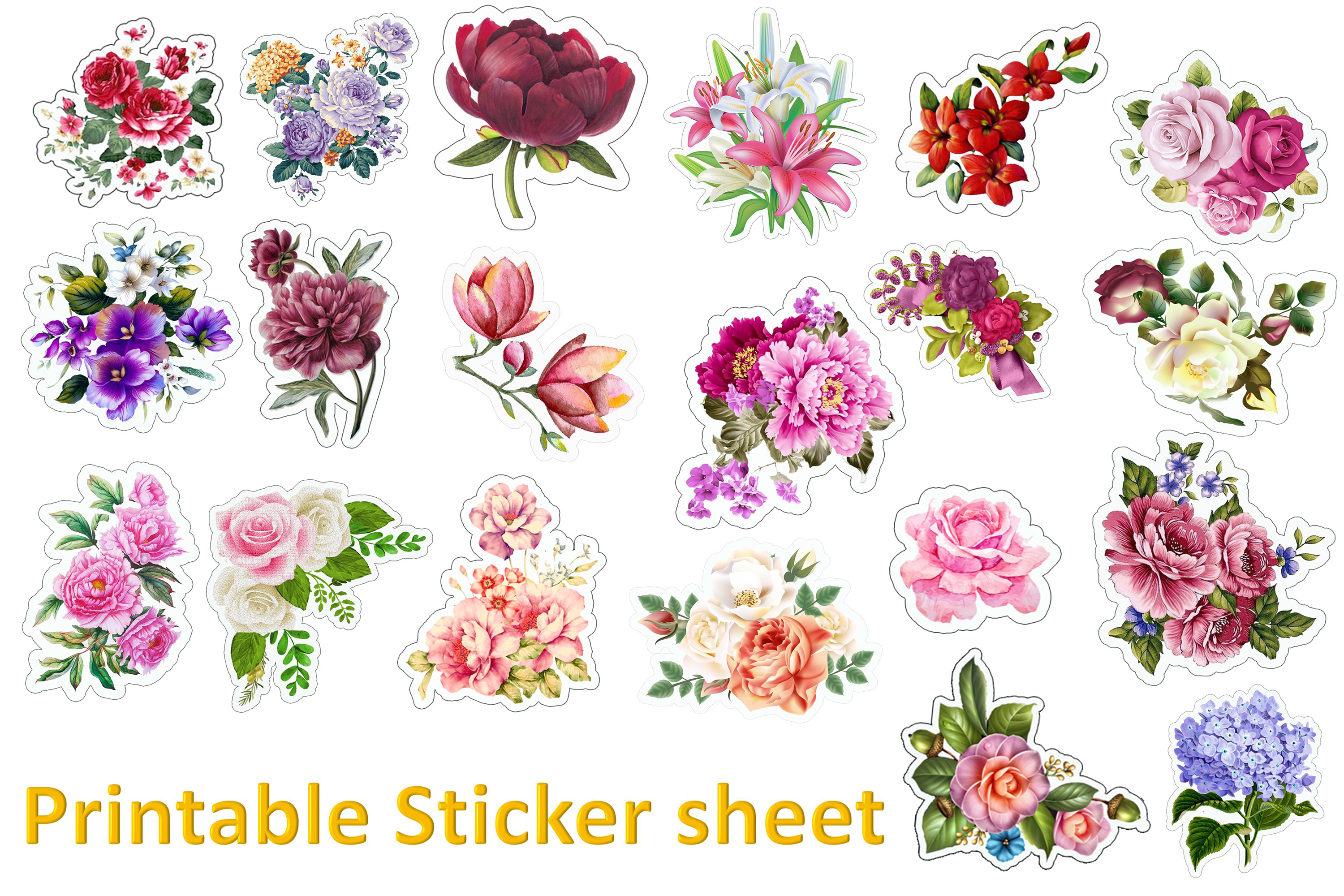 Flower Stickers SVG, PNG and JPEG Cricut, Silhouette. example image 3