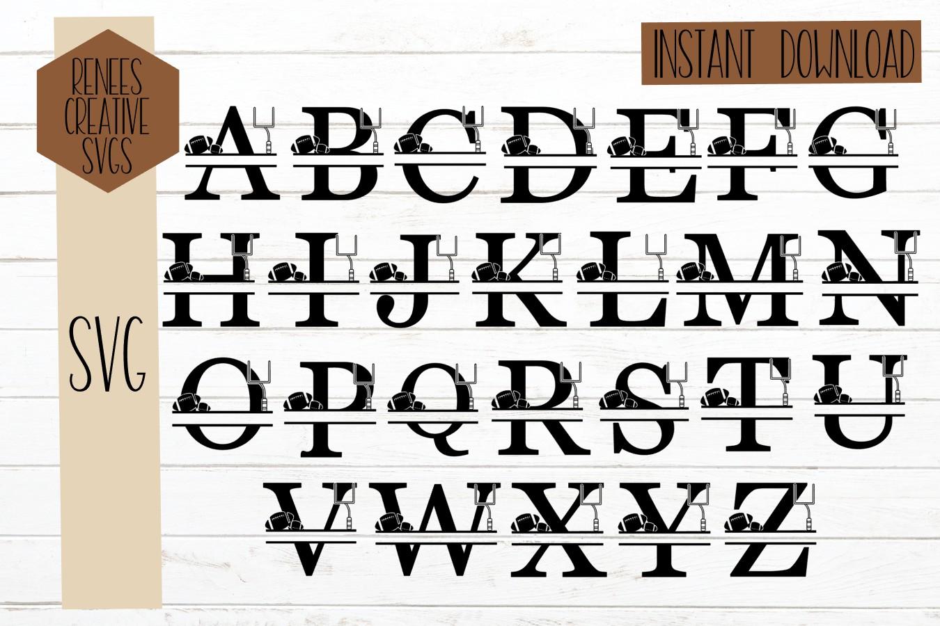 Football Split Letters| Split Monogram letters| SVG Cut File example image 3