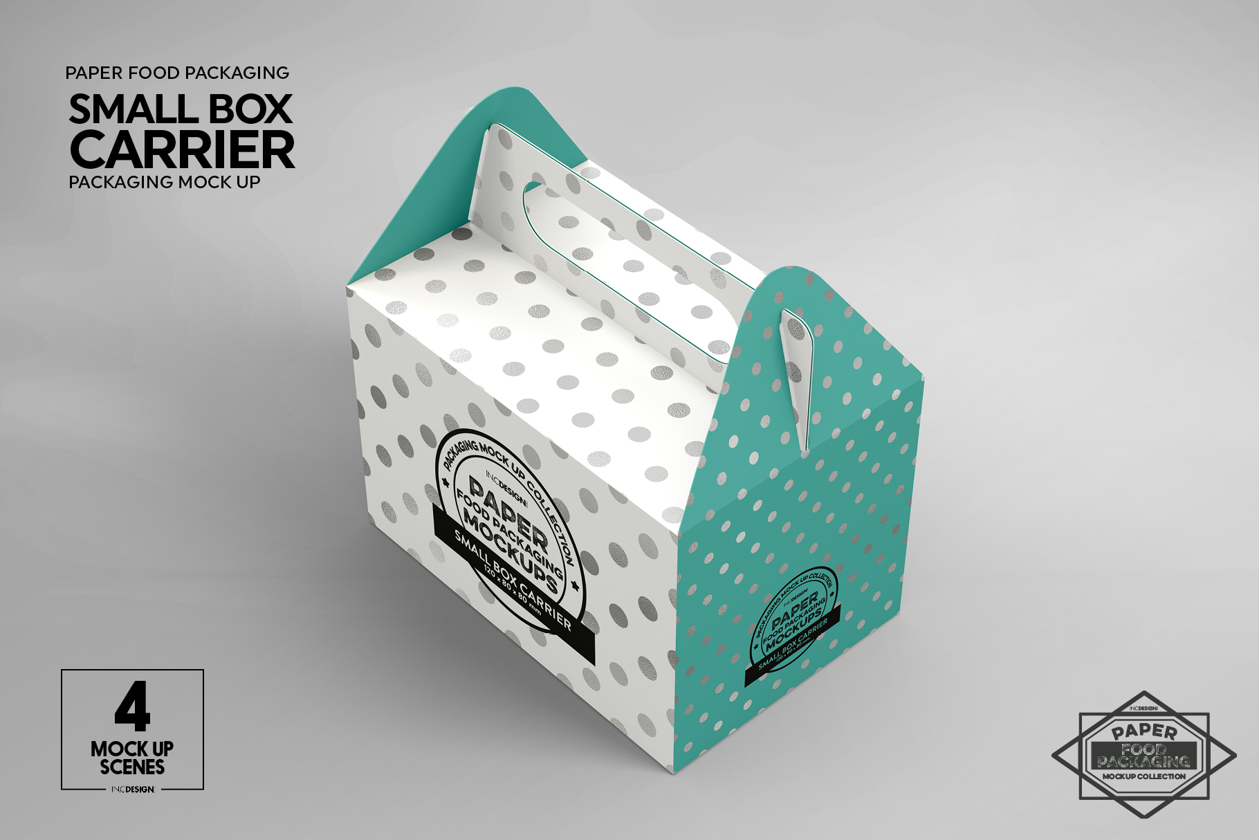 Small Cake Box Carrier Packaging Mockup example image 3