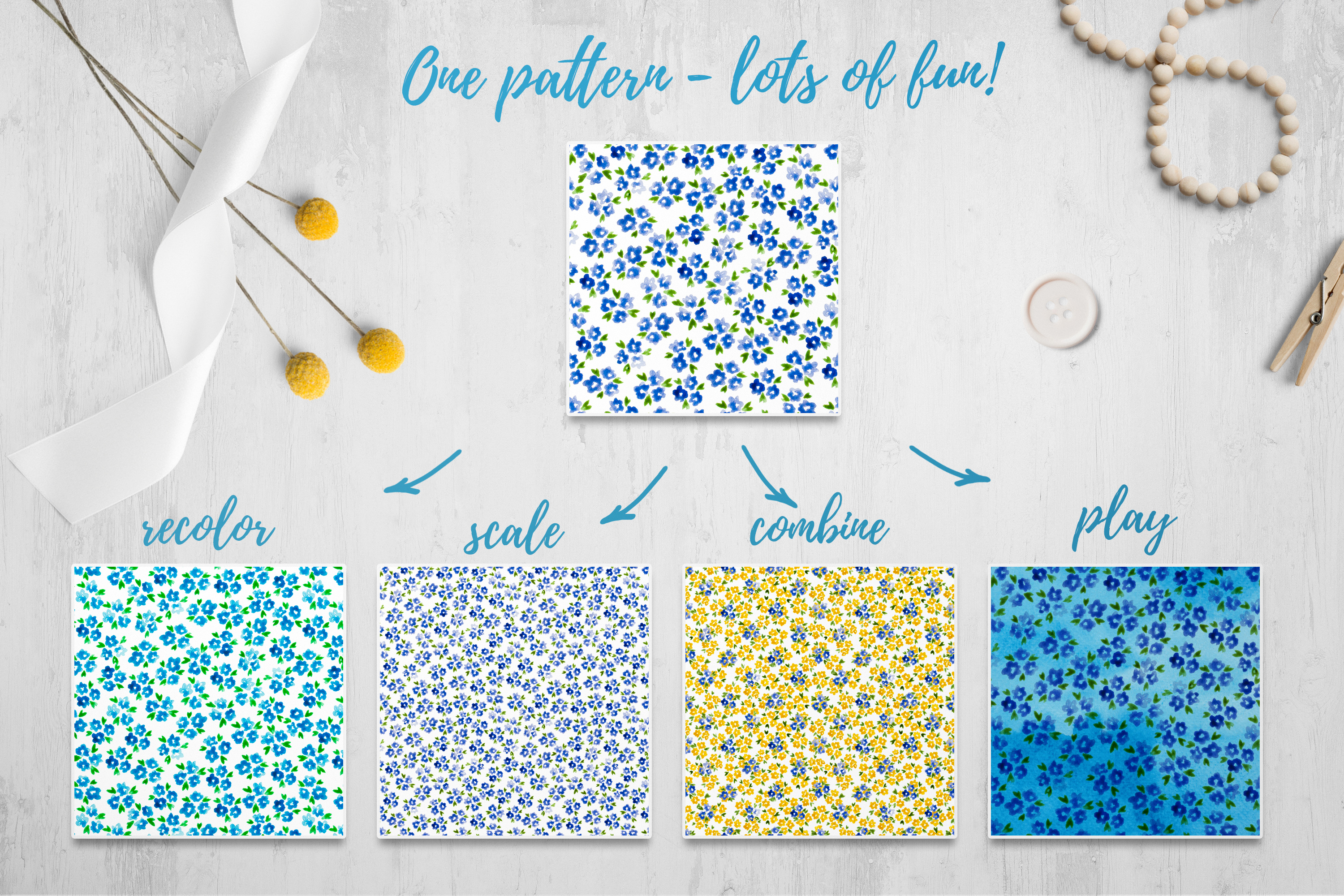 Mille Fleur - 36 watercolor patterns example image 2