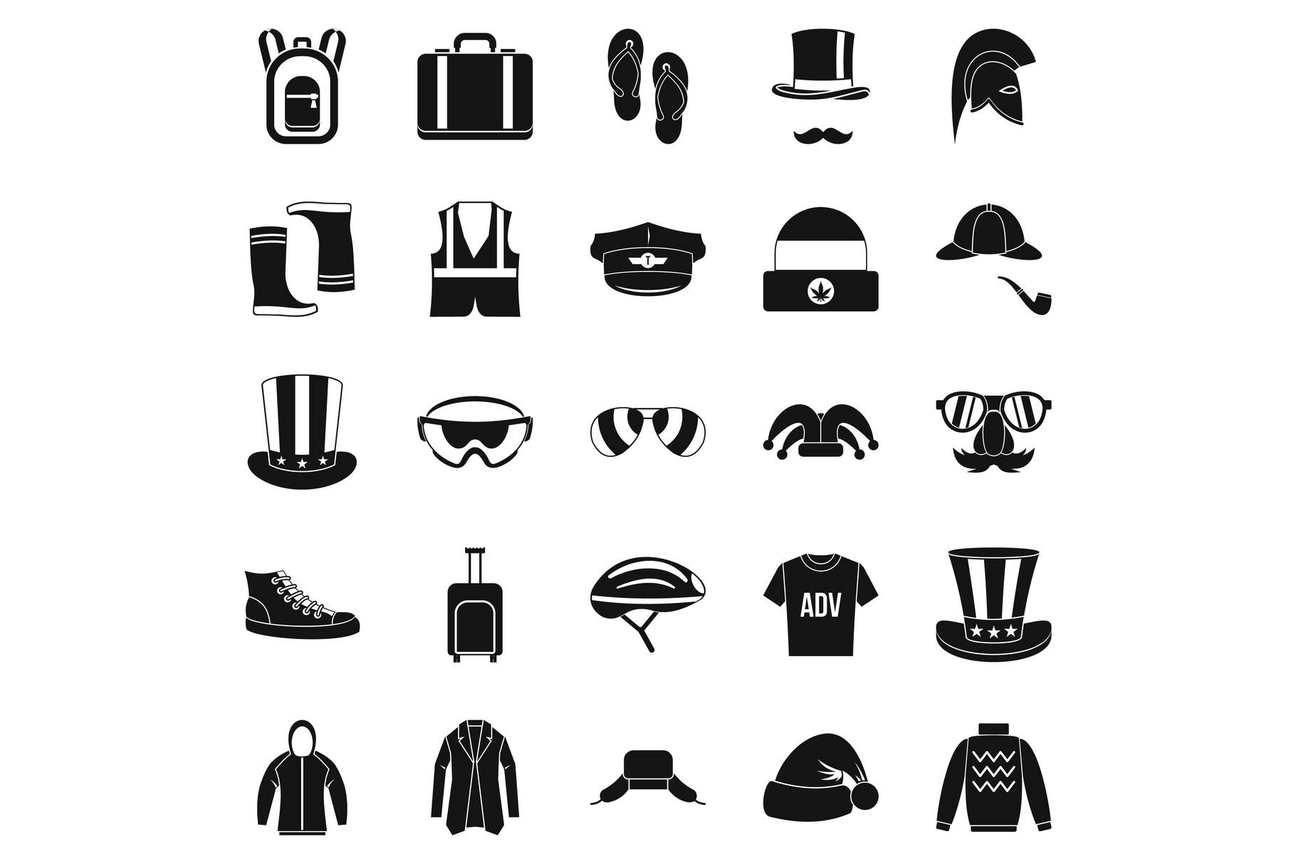 Buying winter clothes icons set, simple style example image 1