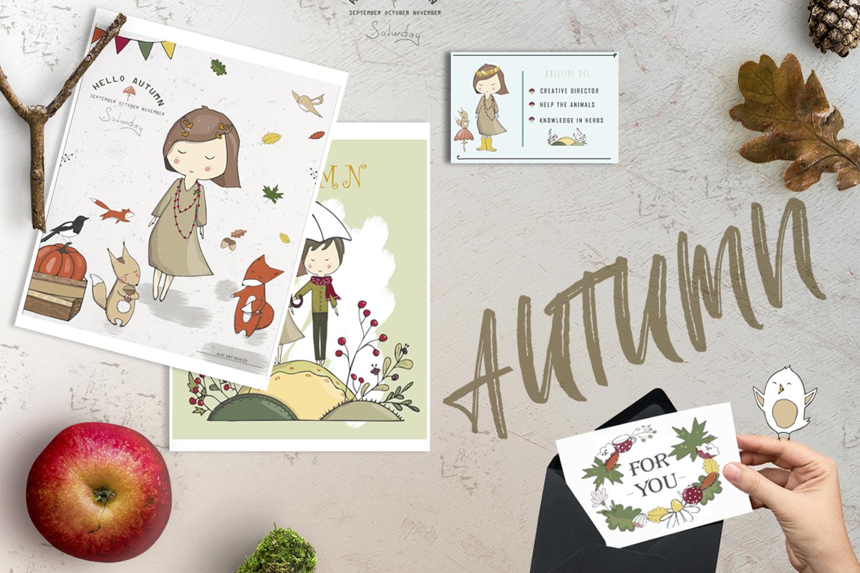 Yellow Autumn Graphics Set example image 2