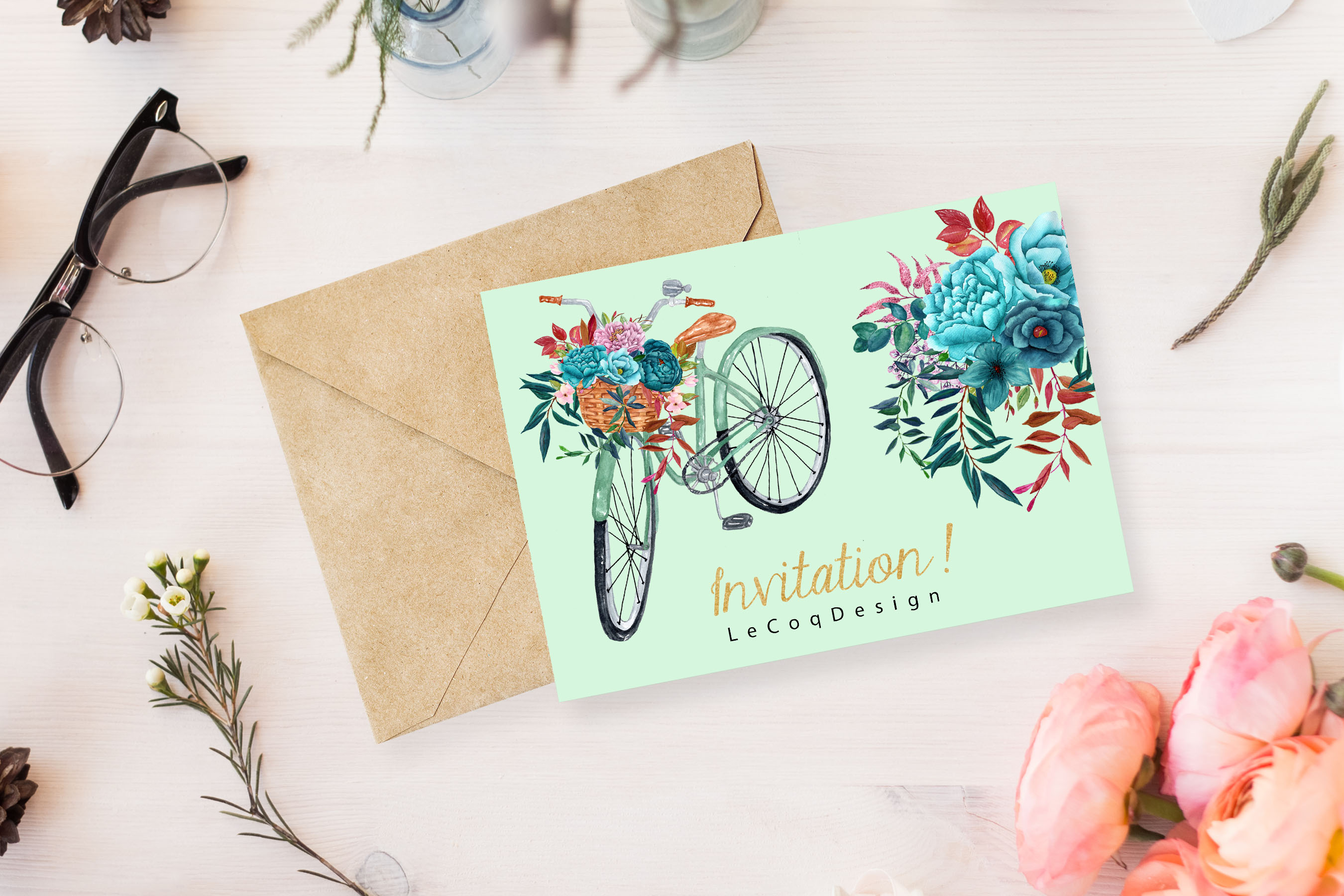 Watercolor floral bicycle clipart example image 2