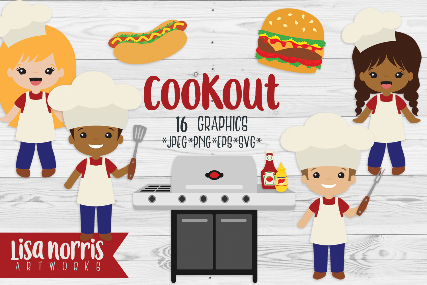 Cookout Clip Art Graphics & SVG Cutting Files example image 1