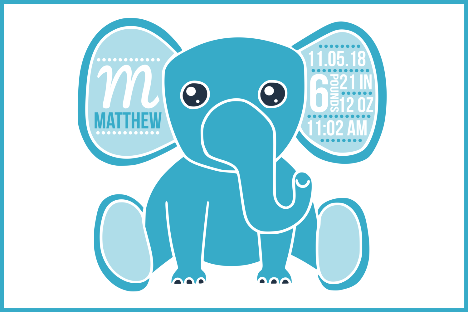 Birth stats svg, birth stats template, elephant svg file example image 1
