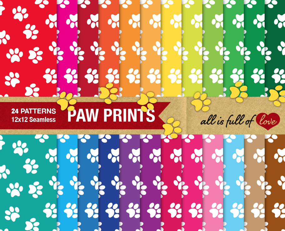Dog Paw Digital Paper  example image 1