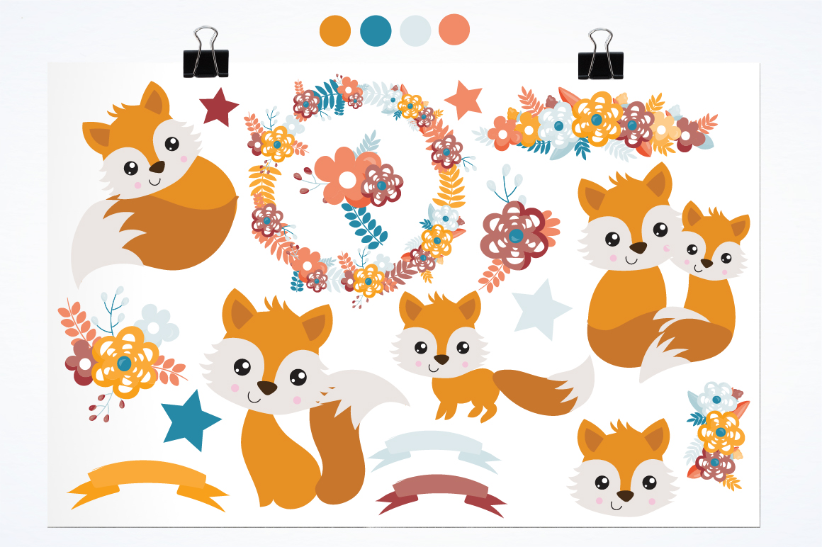 Spring Foxes graphics and illustrations example image 2