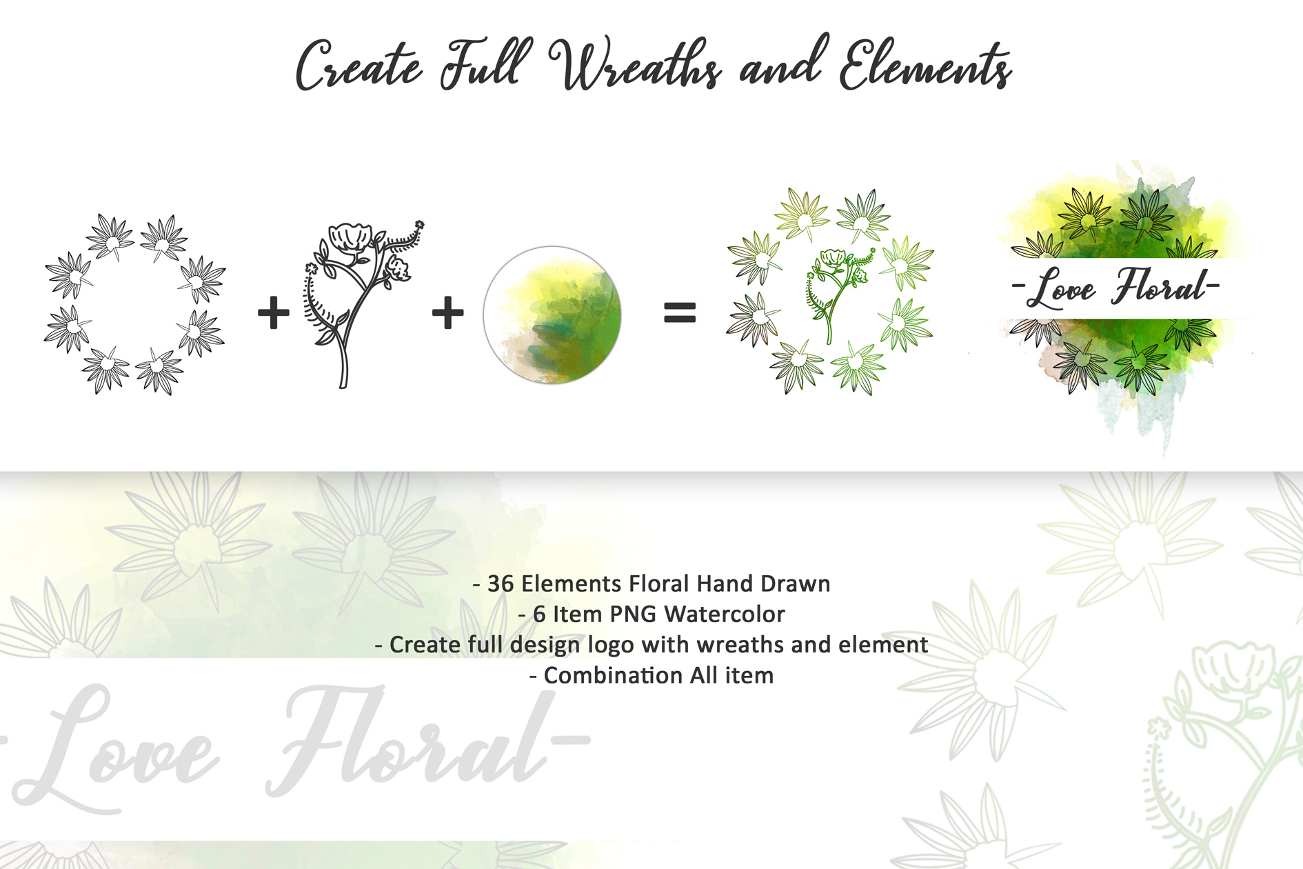 72 Hand Drawn Floral Wreaths example image 6