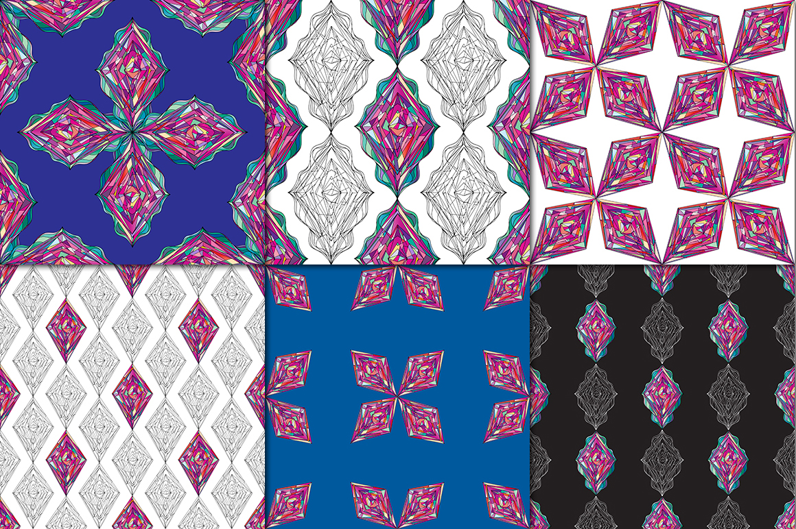 Ornaments diamonds patterns collection. example image 2