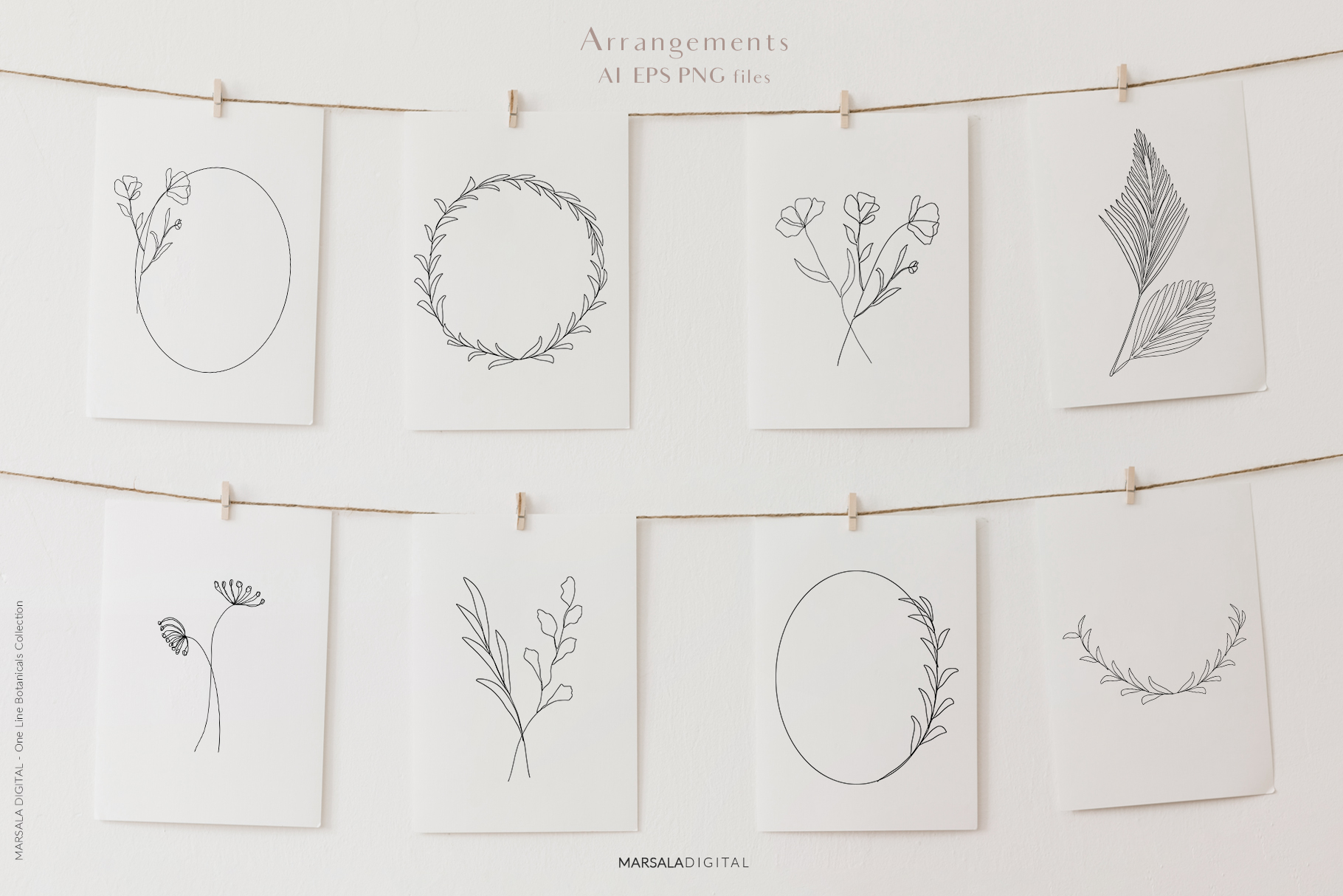 One Line Botanical Drawings Line Art Graphics example image 2