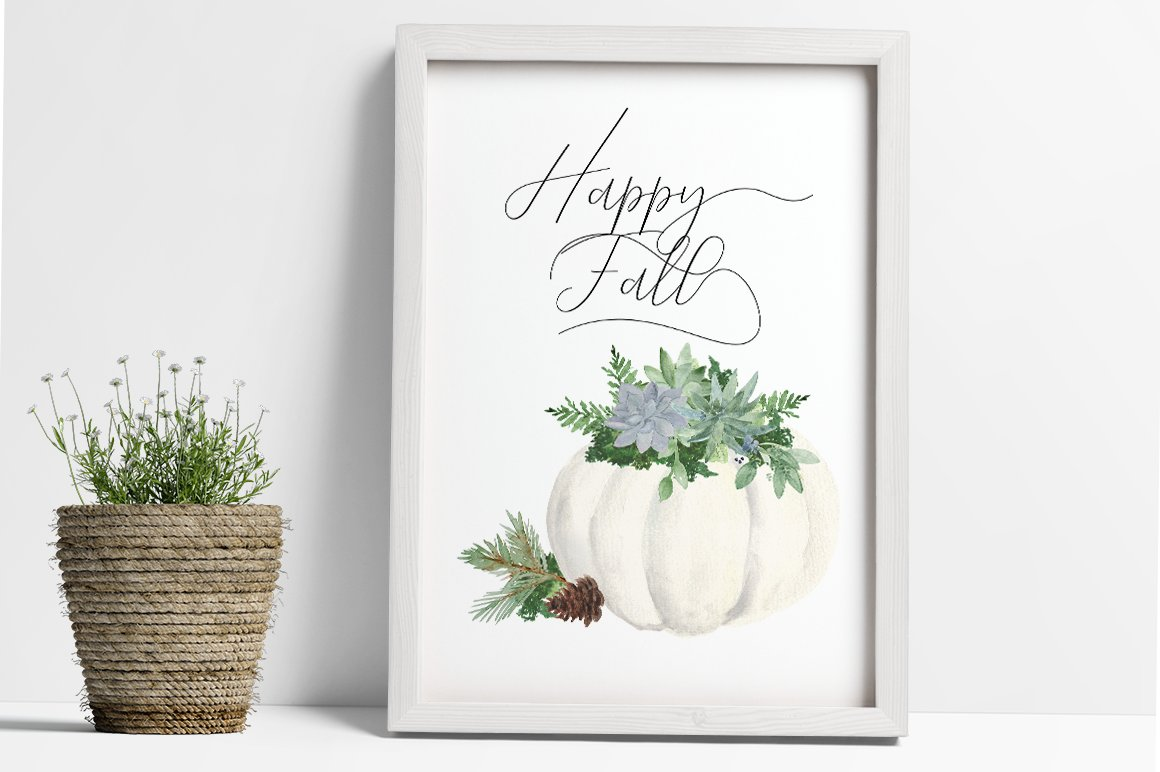 White Pumpkin & Succulent Fall arrangements Clip Art PNG example image 2