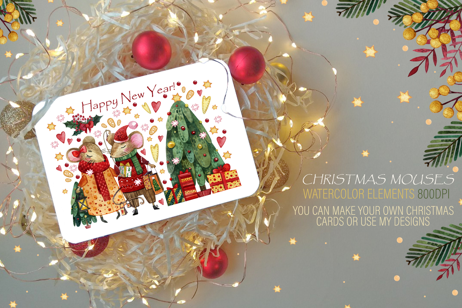 Christmas mouses watercolor collection example image 4