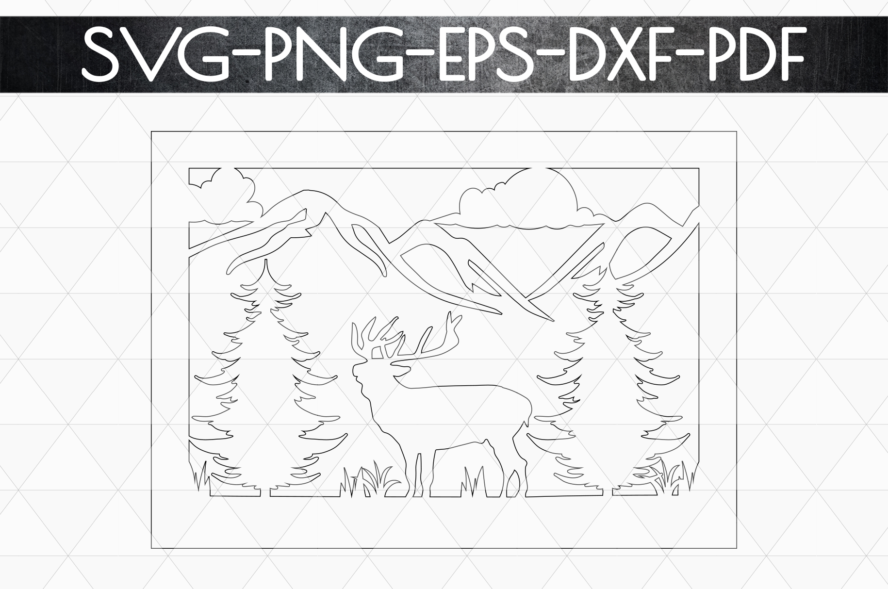 Wild Life Papercut Template, Woodland Adventure Scenery SVG example image 5