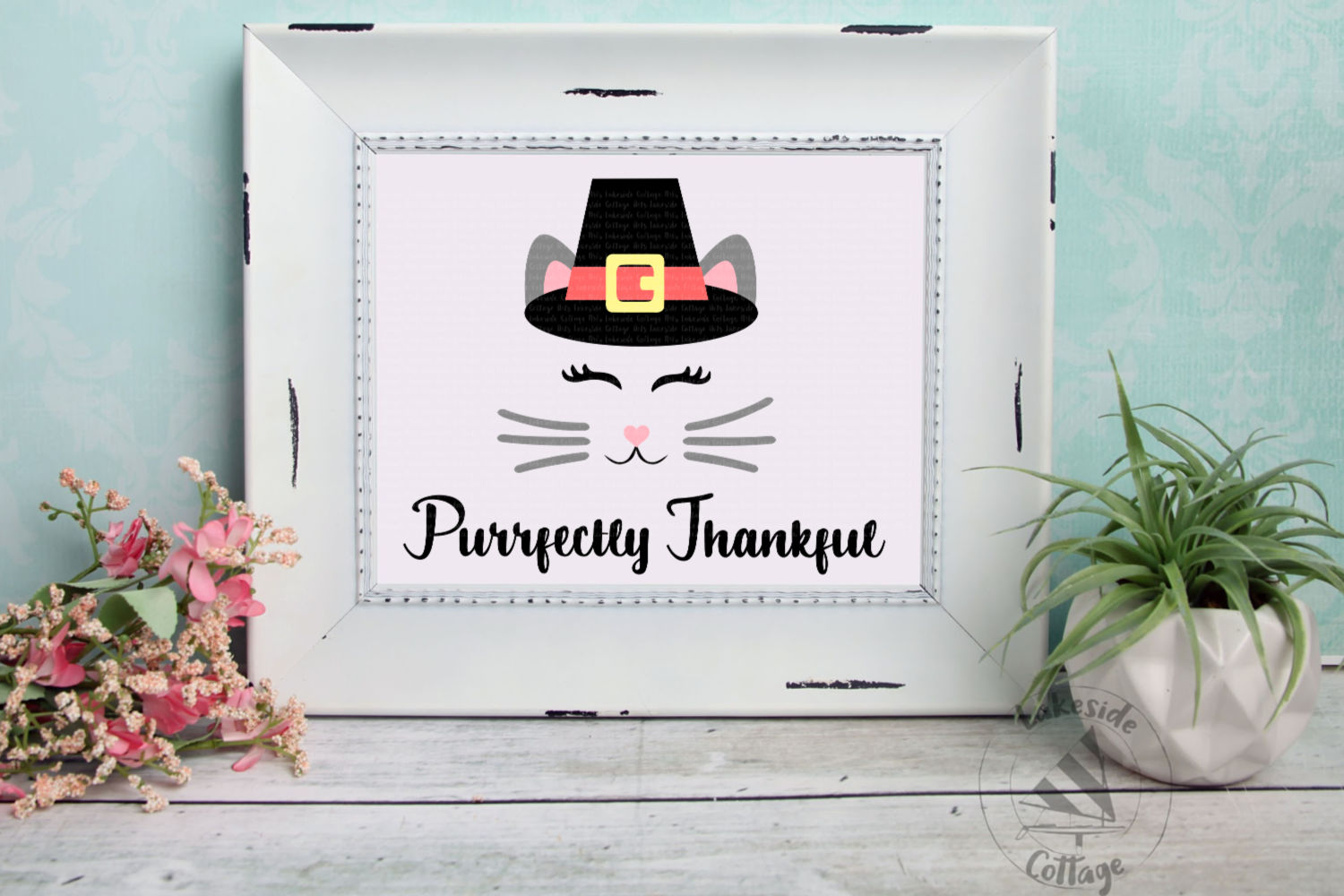 Purrfectly Thankful Cat in Pilgrim Hat Thanksgiving SVG example image 2