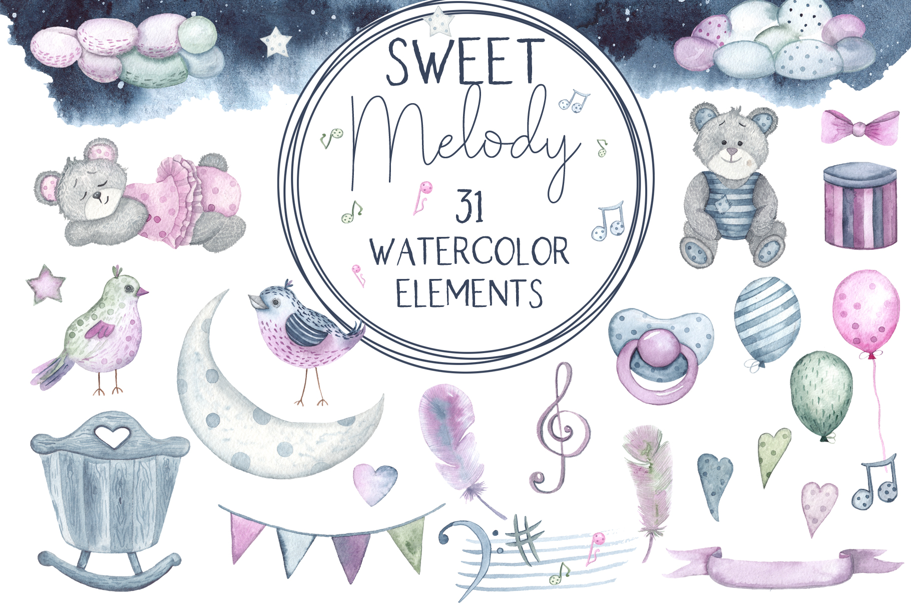 Sweet melody. Watercolor collection example image 12