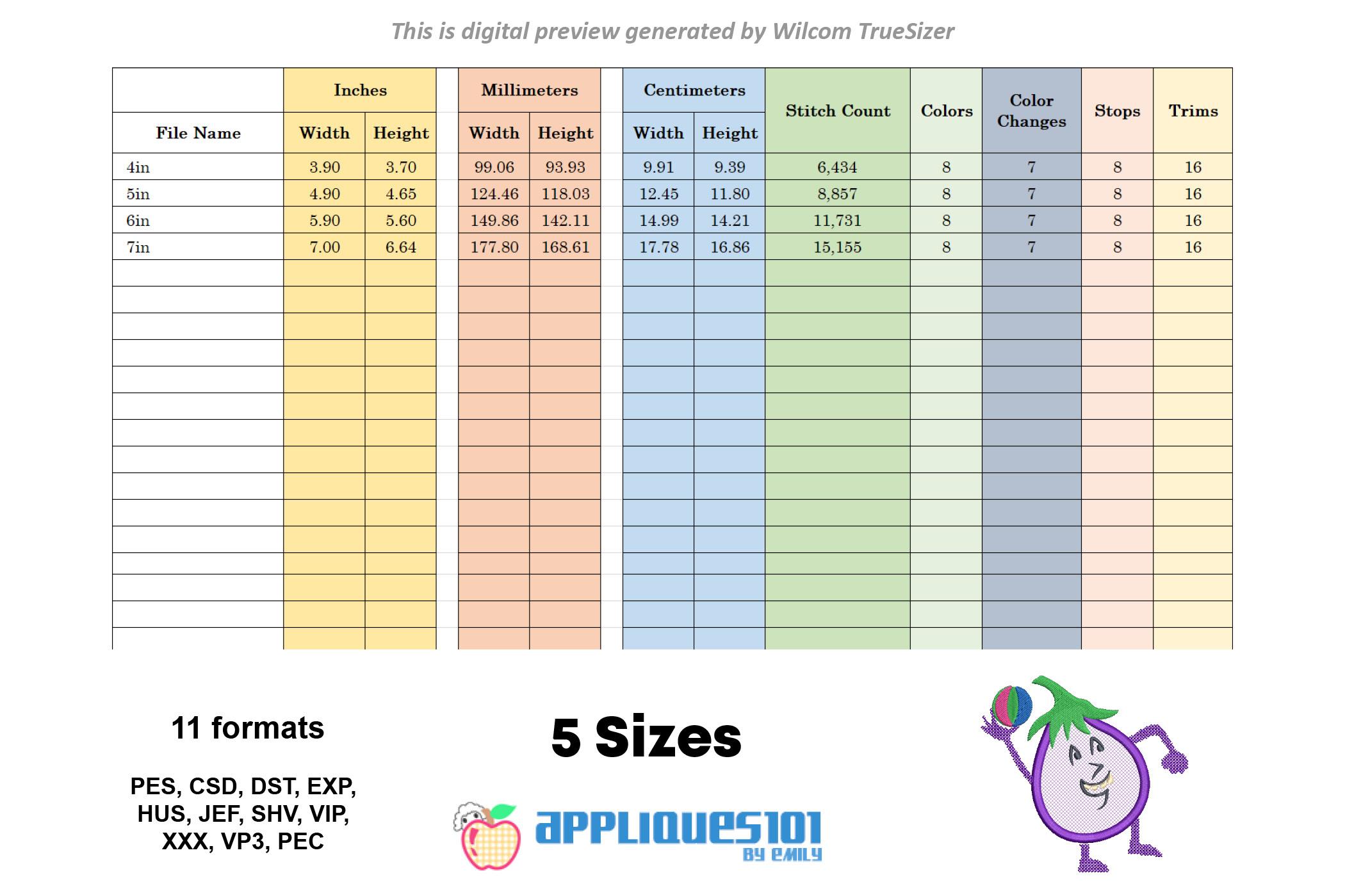 Brinjal Machine Embroidery Applique Design - Vegetables example image 2