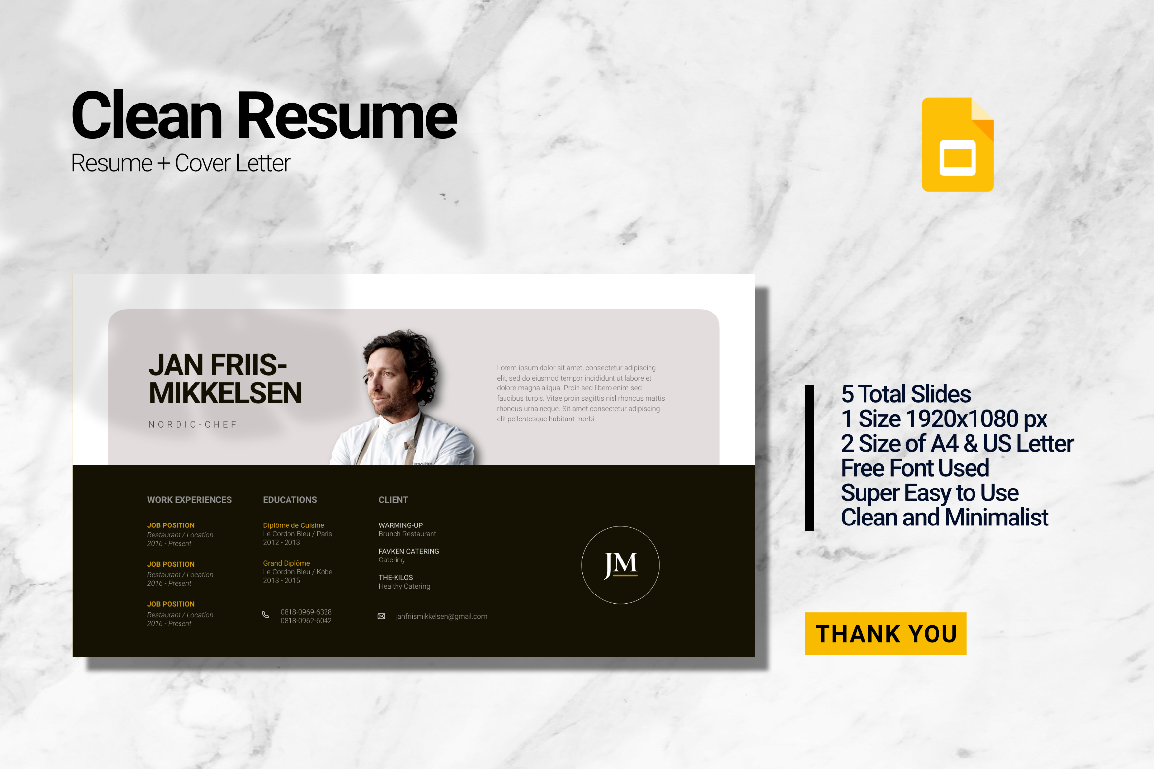 Clean Chef Resume Google Slides example image 1