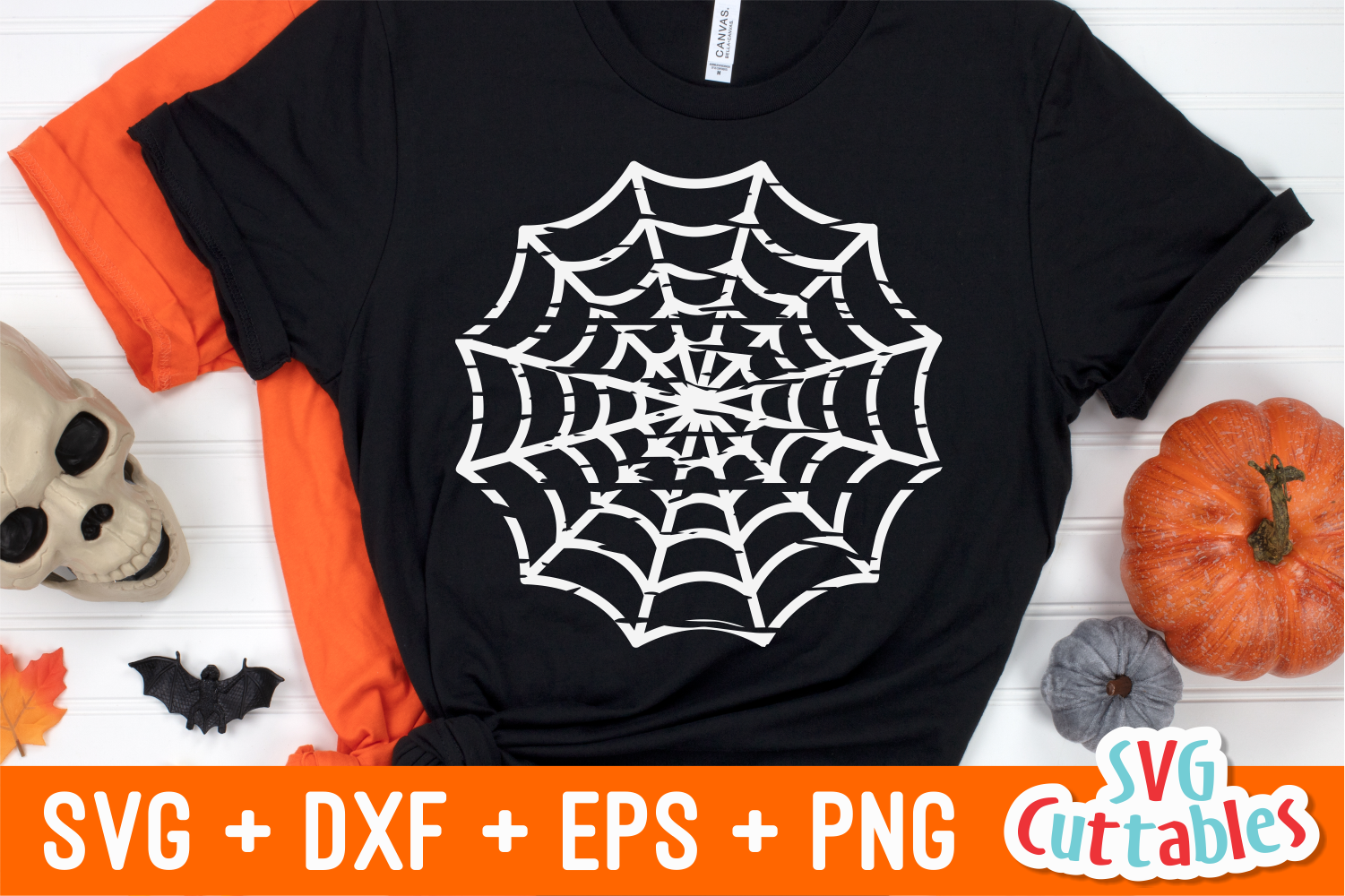 Distressed Spider Web  Halloween SVG Cut File example image 1
