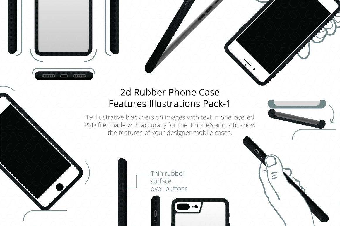 2d Rubber Phone Case Features Illustrations Pack 1 example image 1