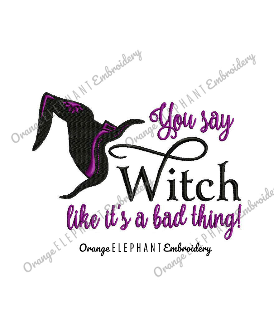 Witch Bad Thing Unique Urban Machine Embroidery Design digital File  example image 1
