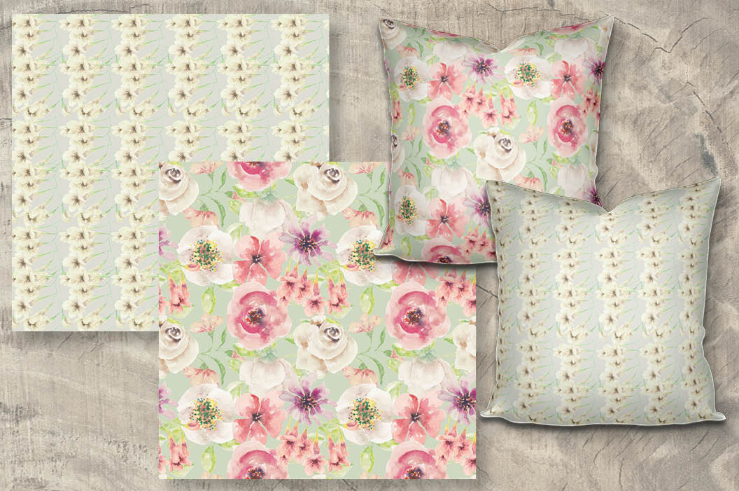 Set of 6 watercolor patterns in blush tones example image 3