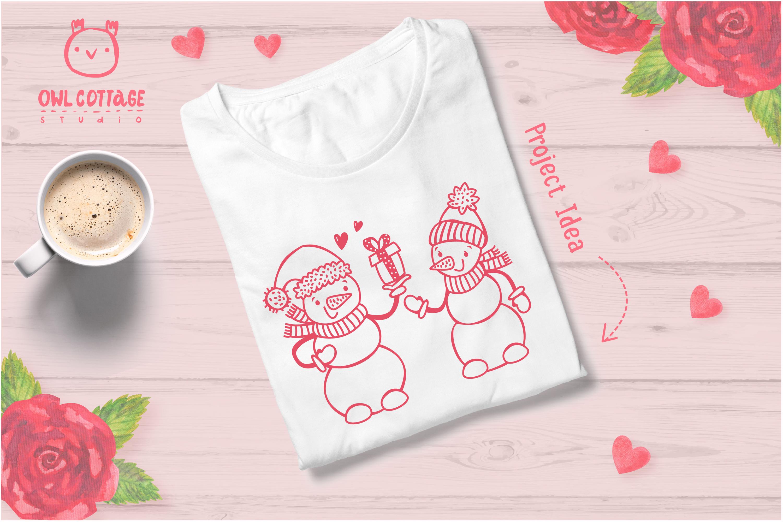 Valentine snowman, Snowman Holding gift Svg, Valentine's Day example image 6