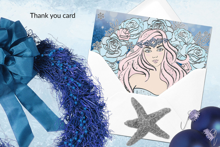 ICE MERMAID Glitter Christmas Illustration Set example image 10