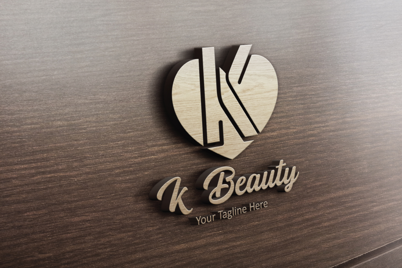 K letter heart logo example image 2
