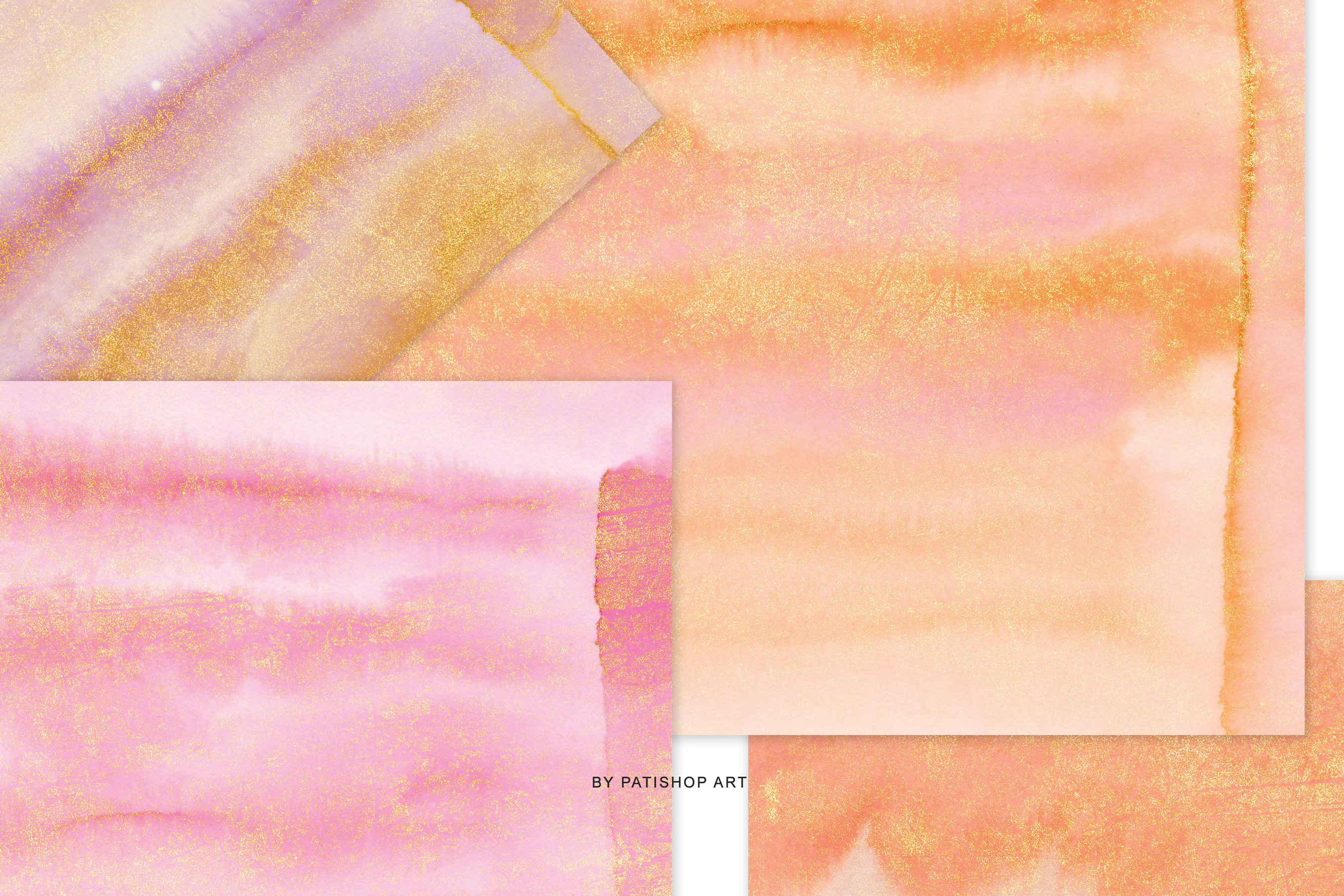 Hand Painted Watercolor Glittered Pink & Orange Backgrounds example image 6