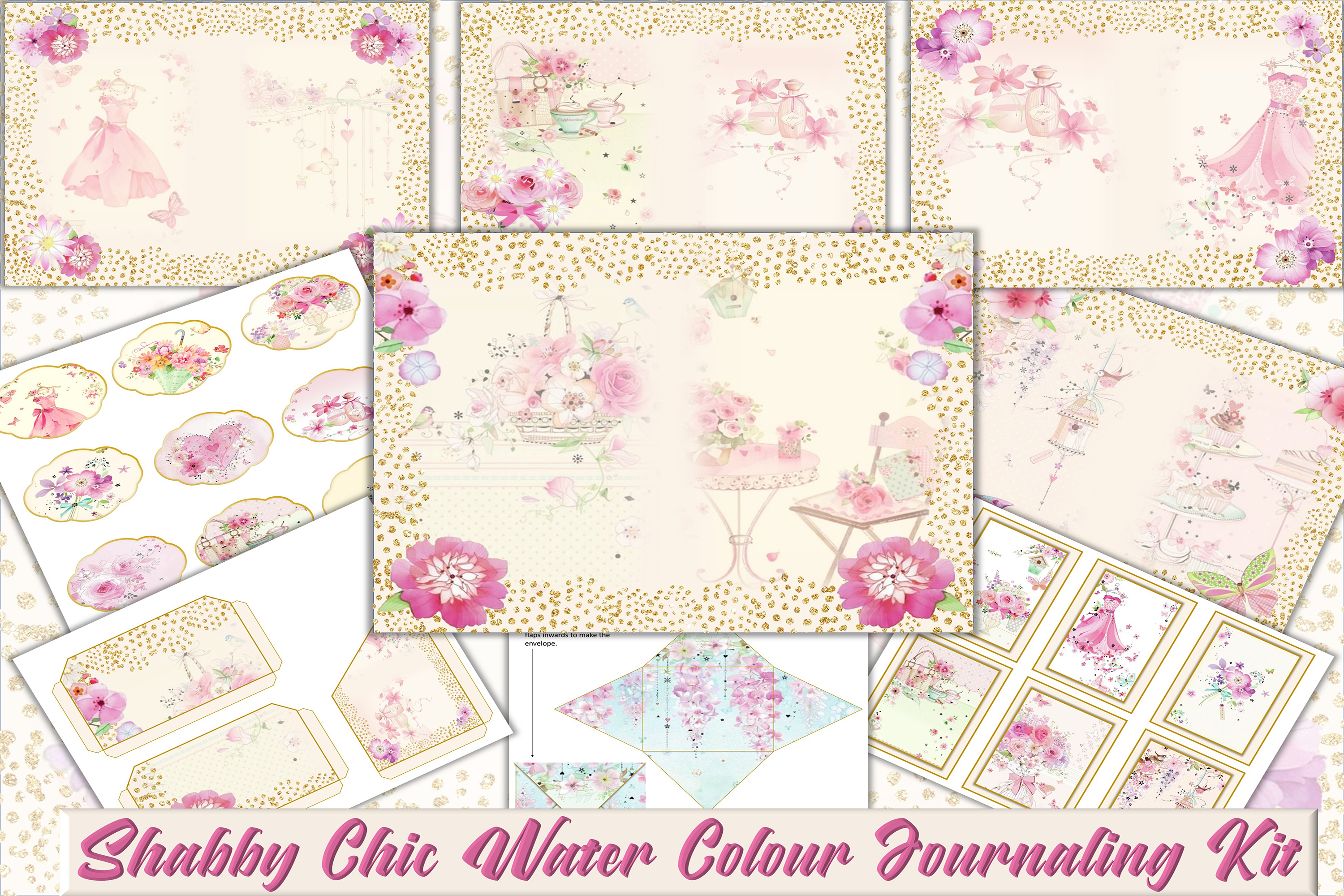 Country Springtime Watercolour Backgrounds, Ephemera &PNG example image 1