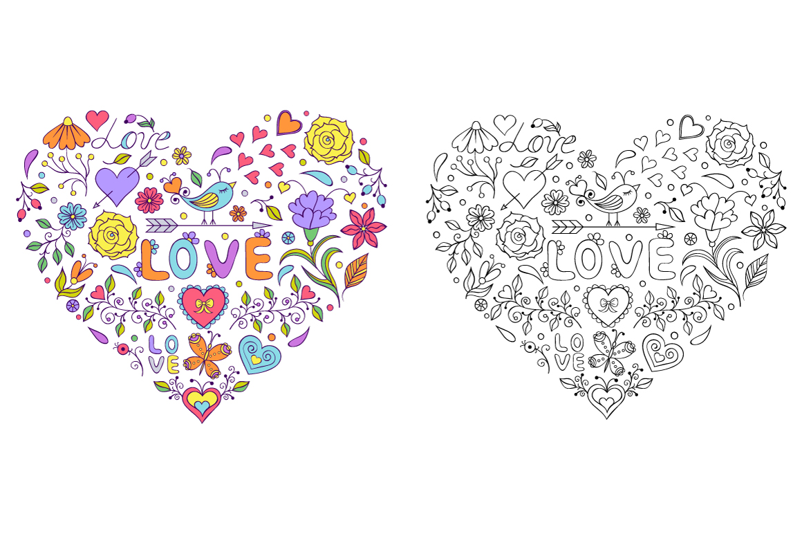 Floral Valentine's hearts example image 2