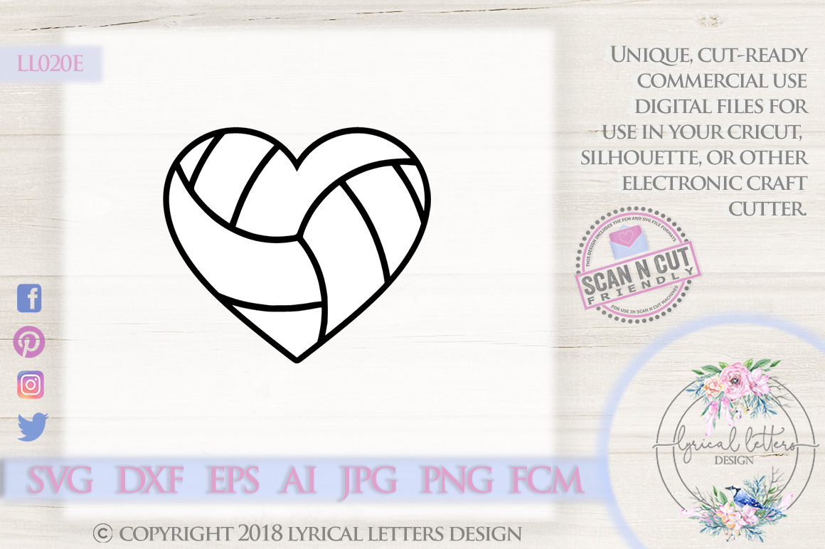 Volleyball Heart SVG DXF Cut File LL020E example image 1