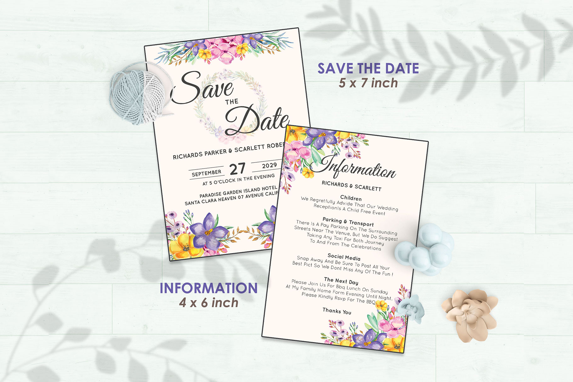 Wedding Invitation Set #1 Watercolor Floral Flower Style example image 3