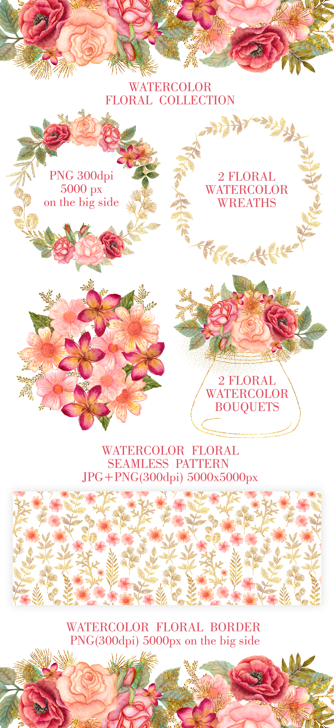 Watercolor floral collection example image 2