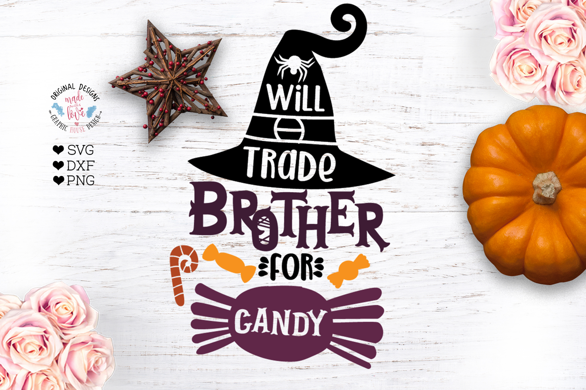 Will Trade Brother For Candy - Halloween Cut File example image 1