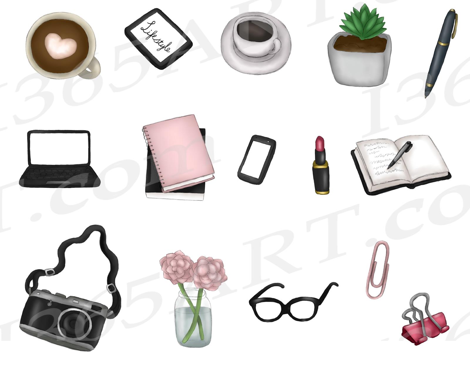 Blogger Girl Clipart, Girl Boss Fashion Illustrations example image 3