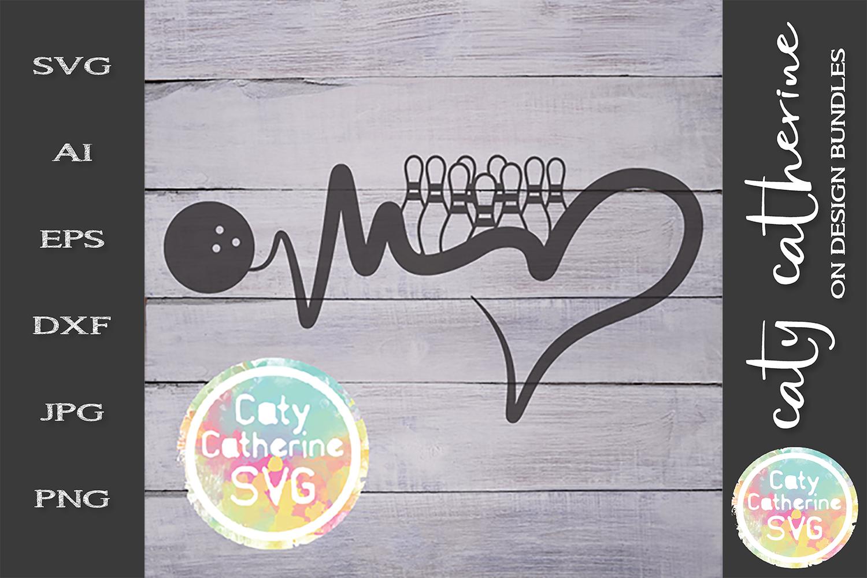 Heartbeat Love Heart Ten Pin Bowling SVG Cut File example image 1
