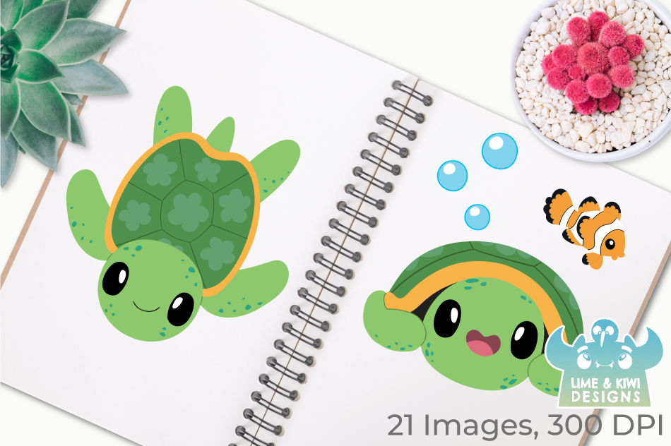 Turtles Clipart, Instant Download Vector Art, Commercial Use example image 3