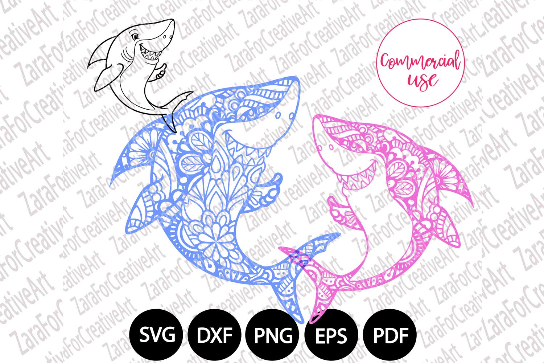 cute shark mandala svg example image 1