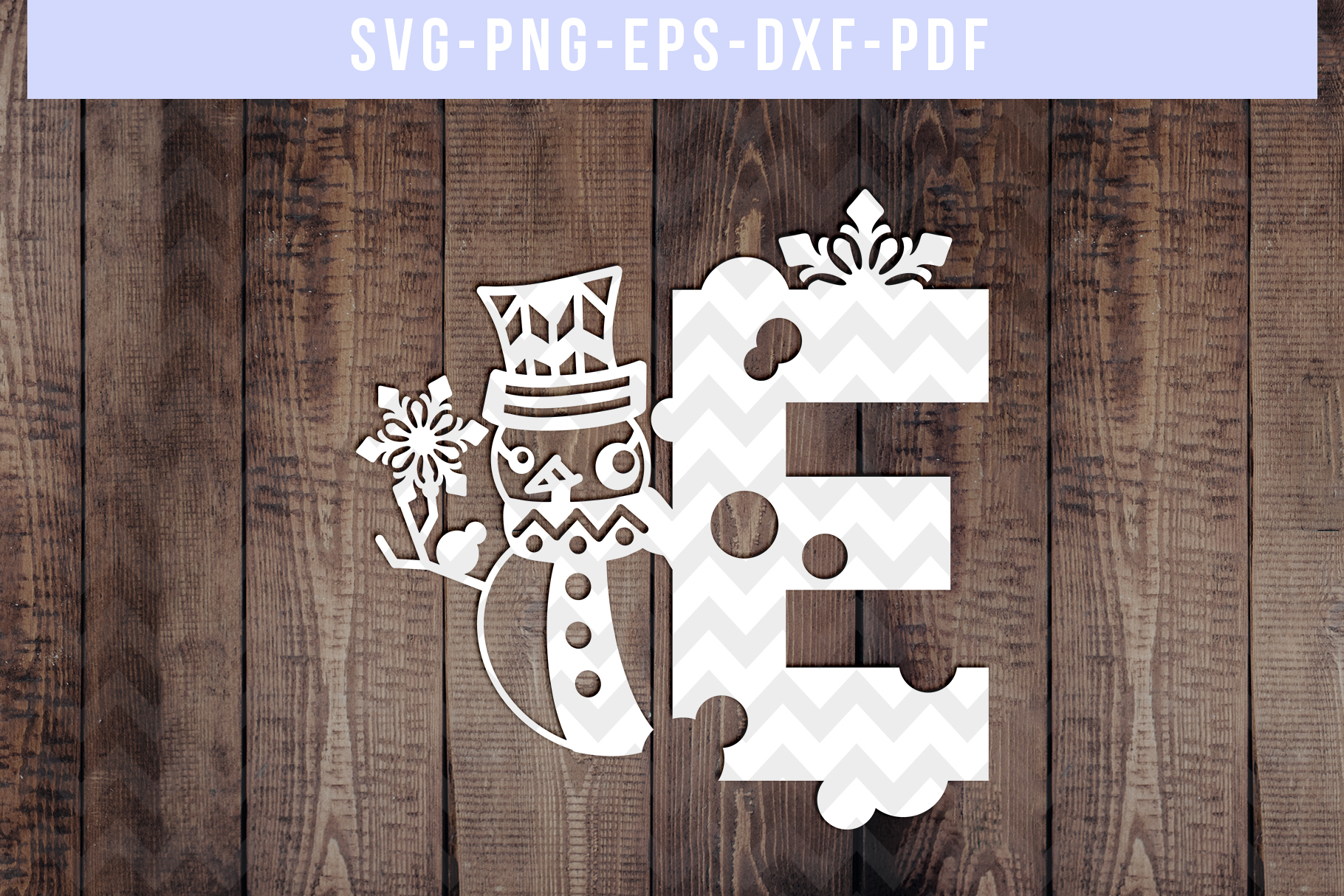 Snowman Font E Paper Cut Template, Winter Cutting SVG, DXF example image 1