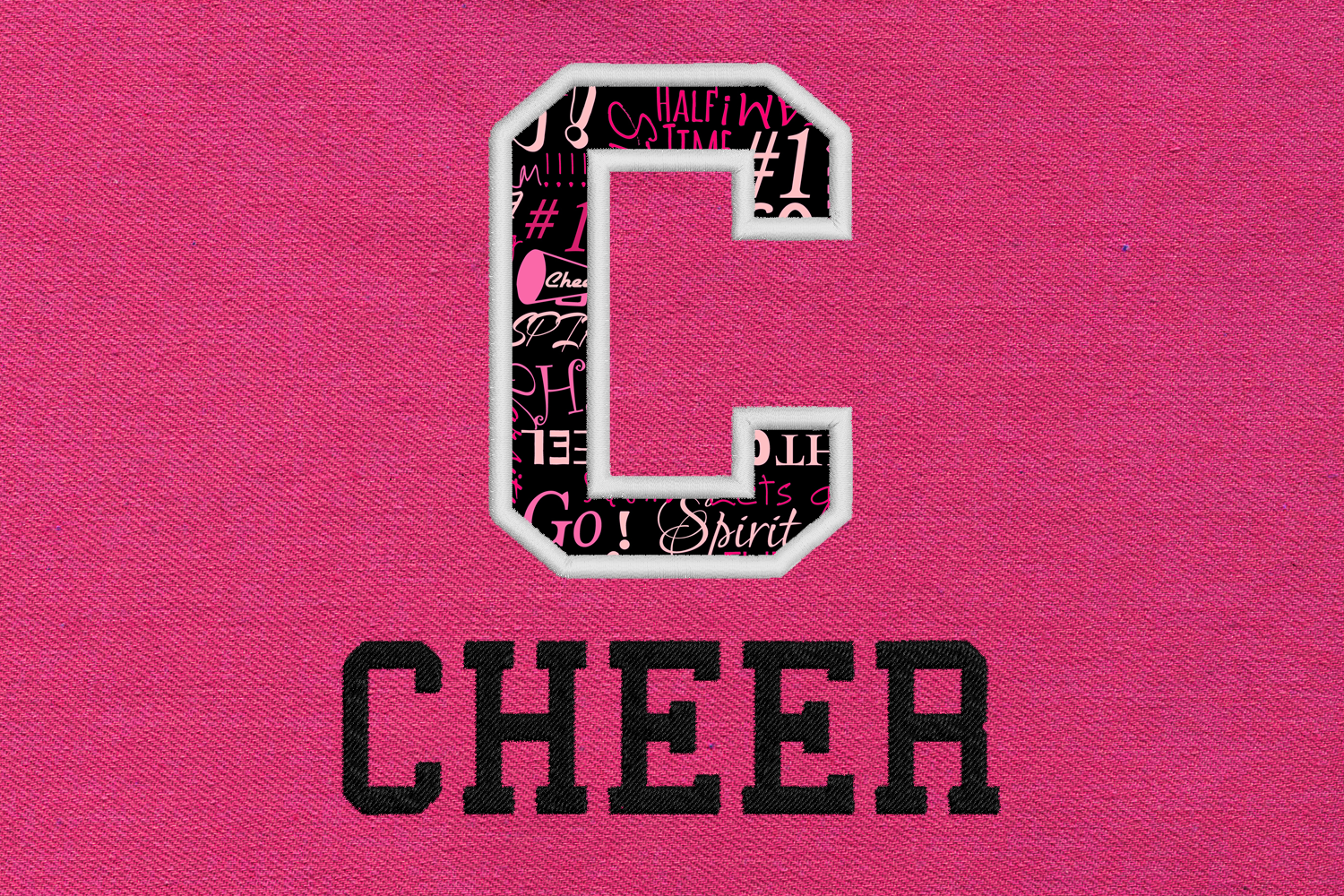C for Cheer Applique Embroidery Design example image 1