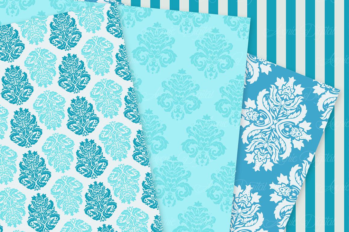 28 Soft Blue Damask Patterns - Seamless Digital Papers Bundle example image 5