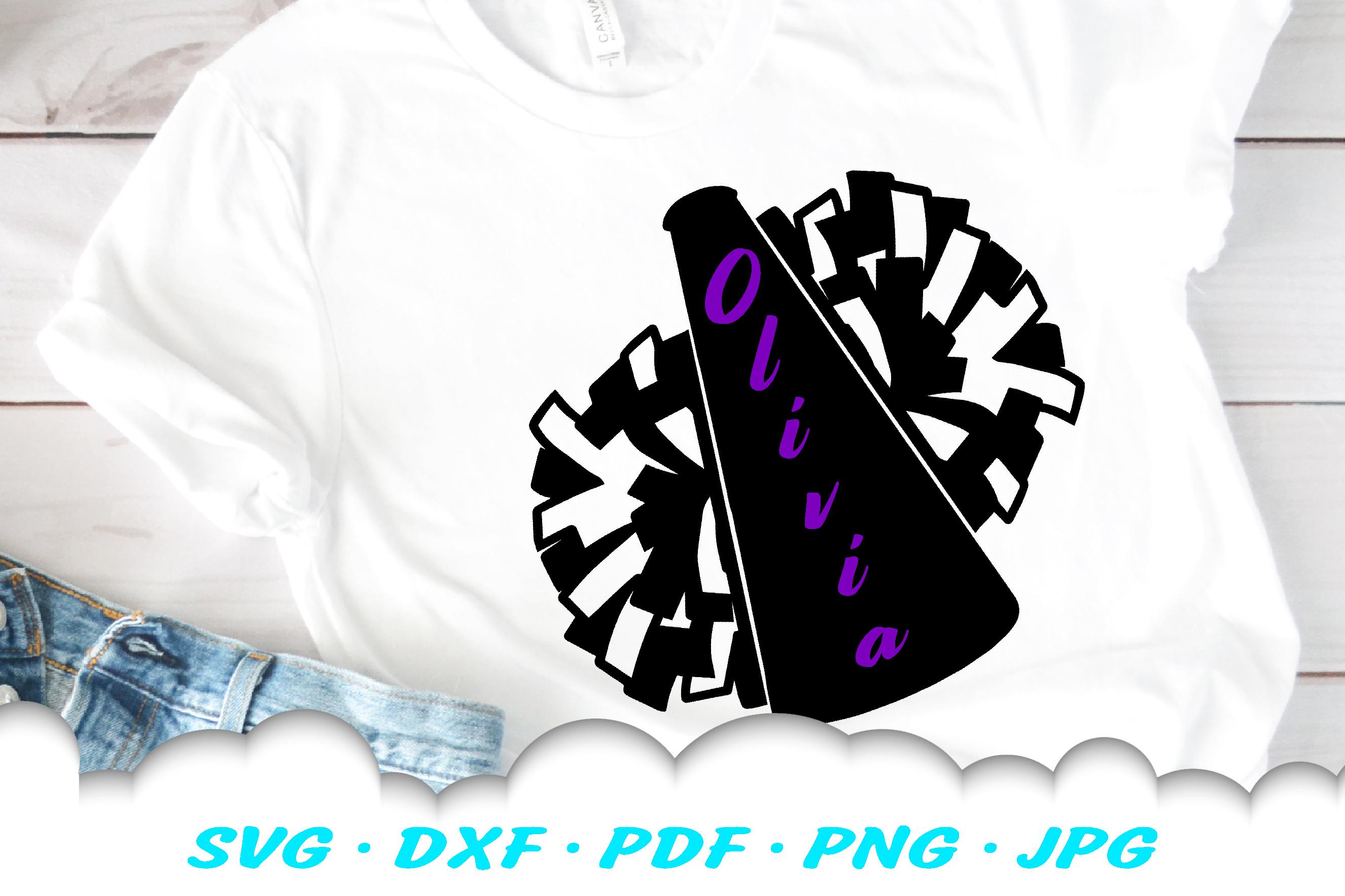 Cheerleader Cheer Megaphone Poms SVG DXF Cut Files example image 3