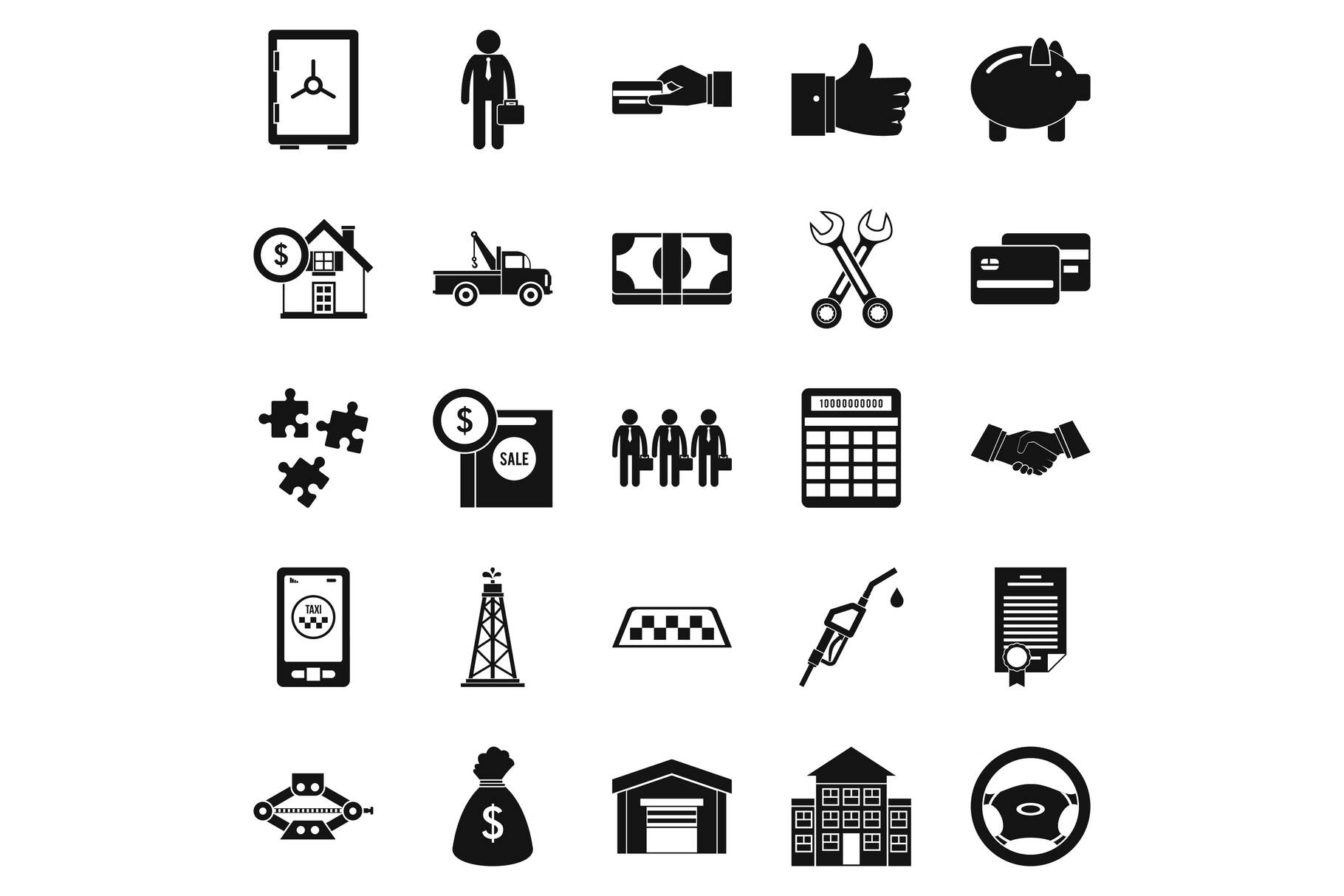 Merchant icons set, simple style example image 1