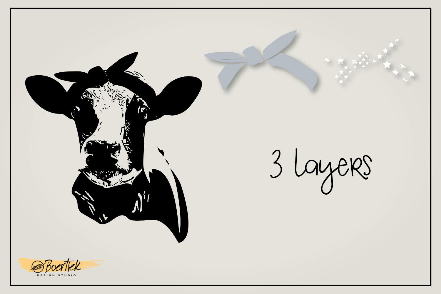 Cow with hair bandana, SVG file example image 6