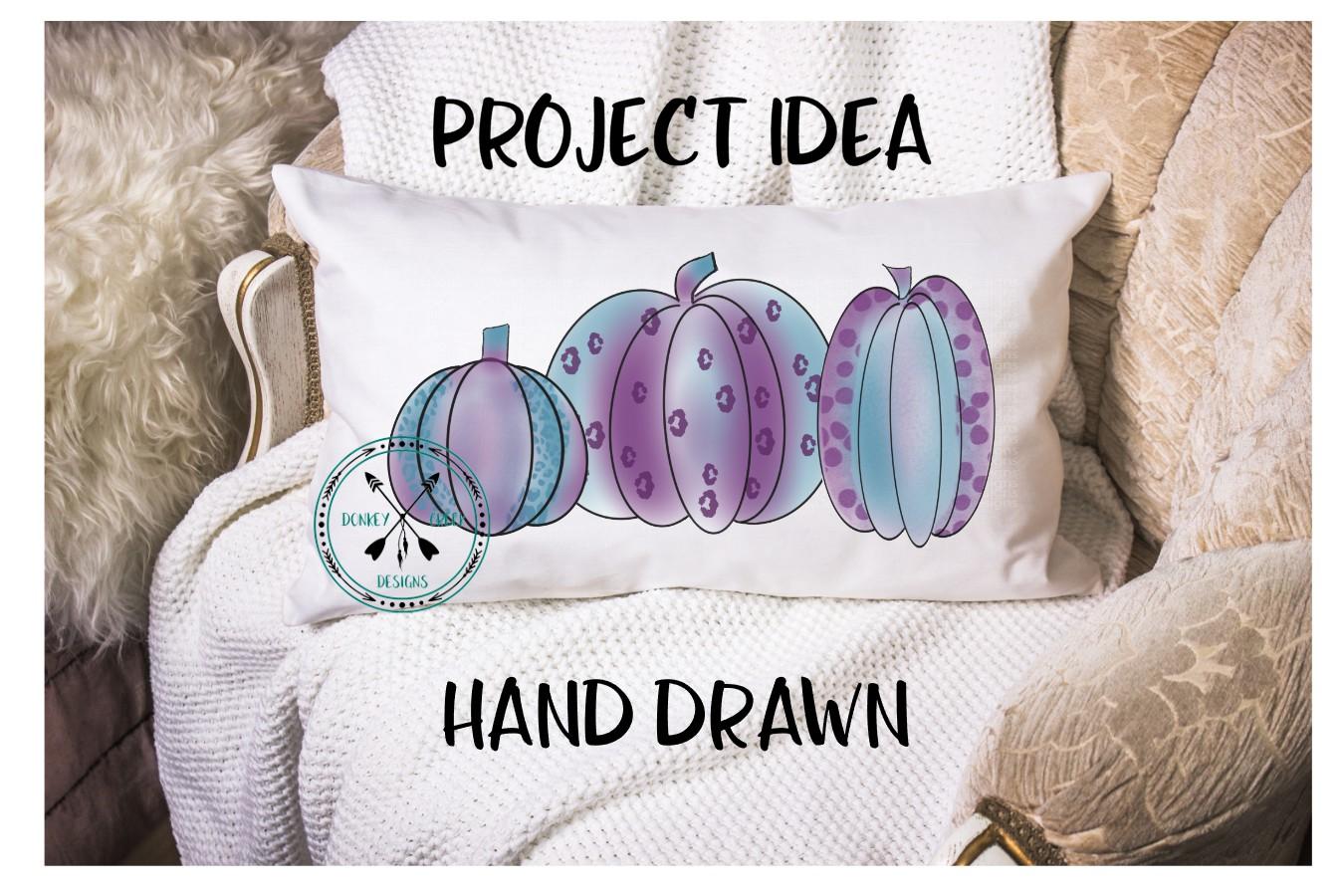 Hand Drawn purple leopard pumpkins Sublimation Design example image 2