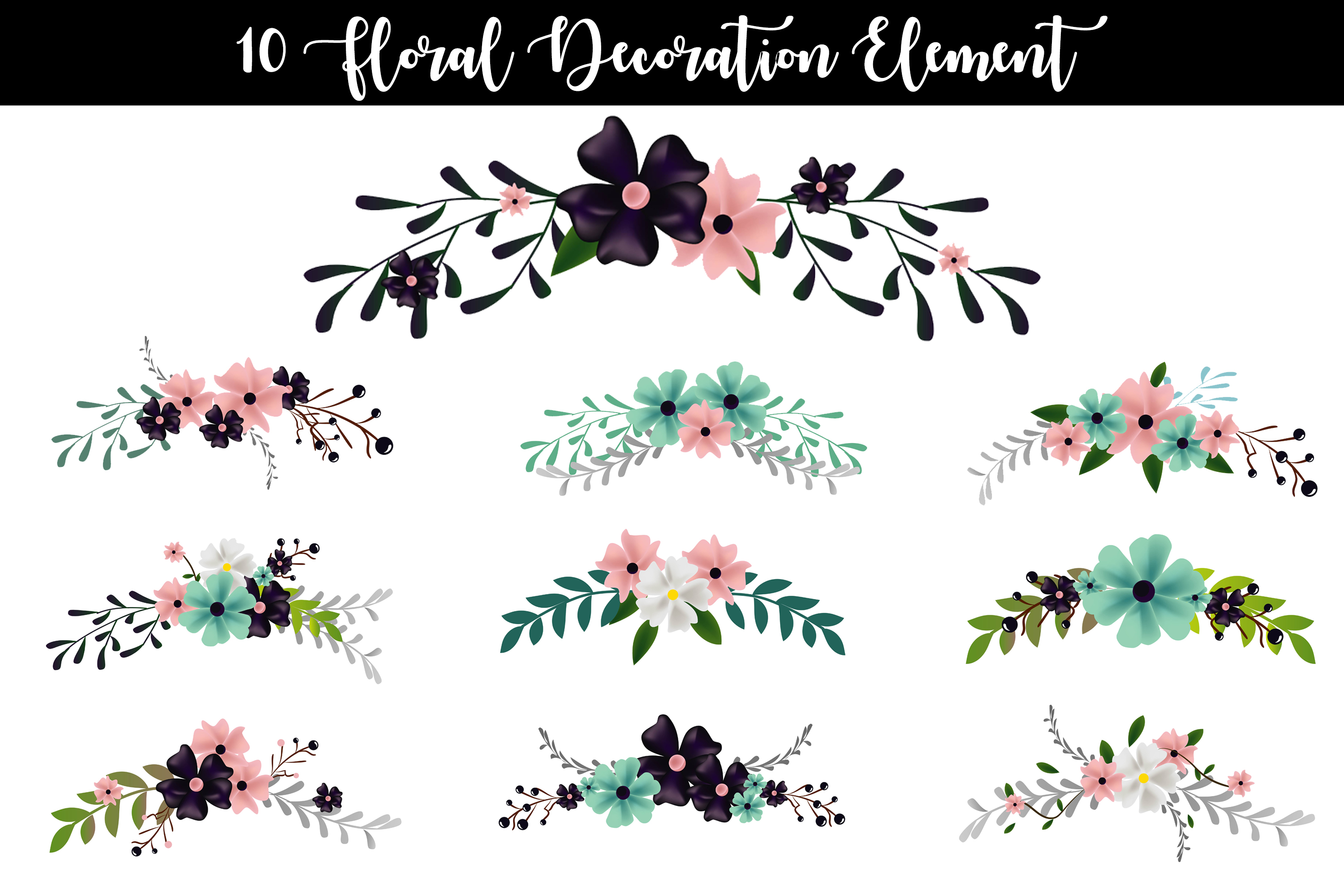 10 Floral Decoration Element Vector example image 1